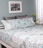 Turquoise Cotton Queen Silverleaf Bed Sheet with 2 Pillow Covers by Raymond Home