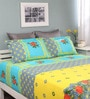 Raymond Home Yellow Cotton Queen Silverleaf Bed Sheet with 2 Pillow Covers