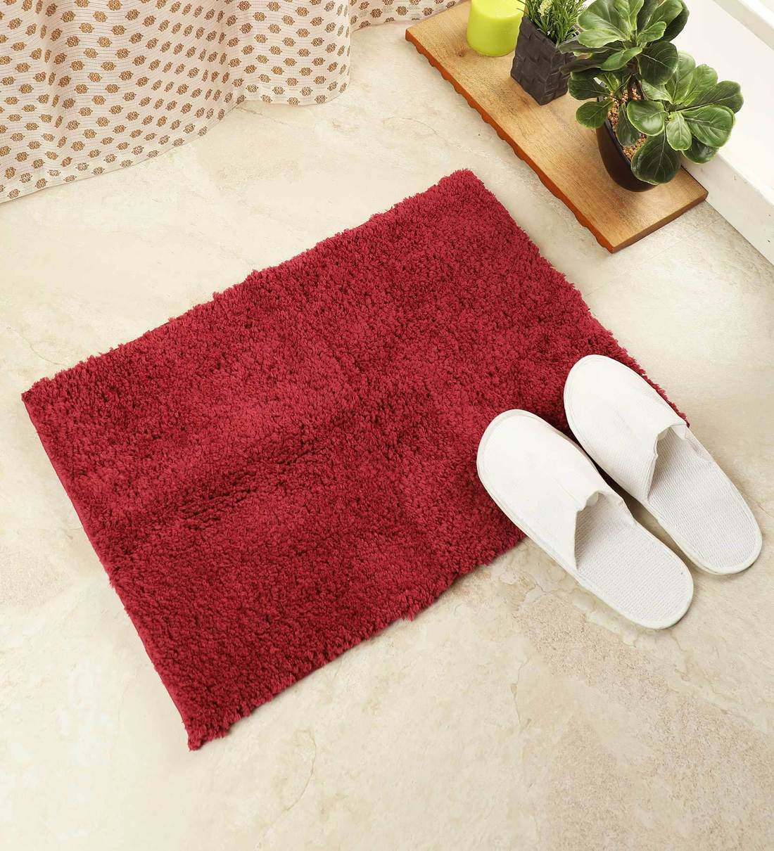 Buy Red 100 Drylon Season Best Bath Mat By Core Designed By Spaces Online Solid Colour Bath Mats Furnishings Home Decor Pepperfry Product