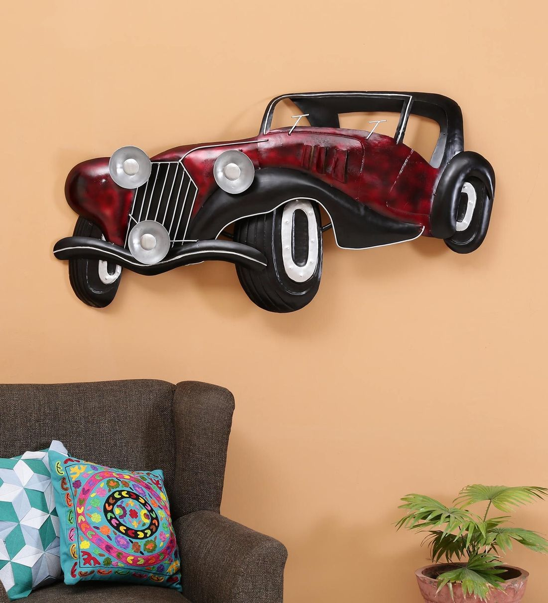 Buy Wrought Iron Vintage Car In Red Wall Art By Malik Design Online Automobile Metal Art Metal Wall Art Home Decor Pepperfry Product