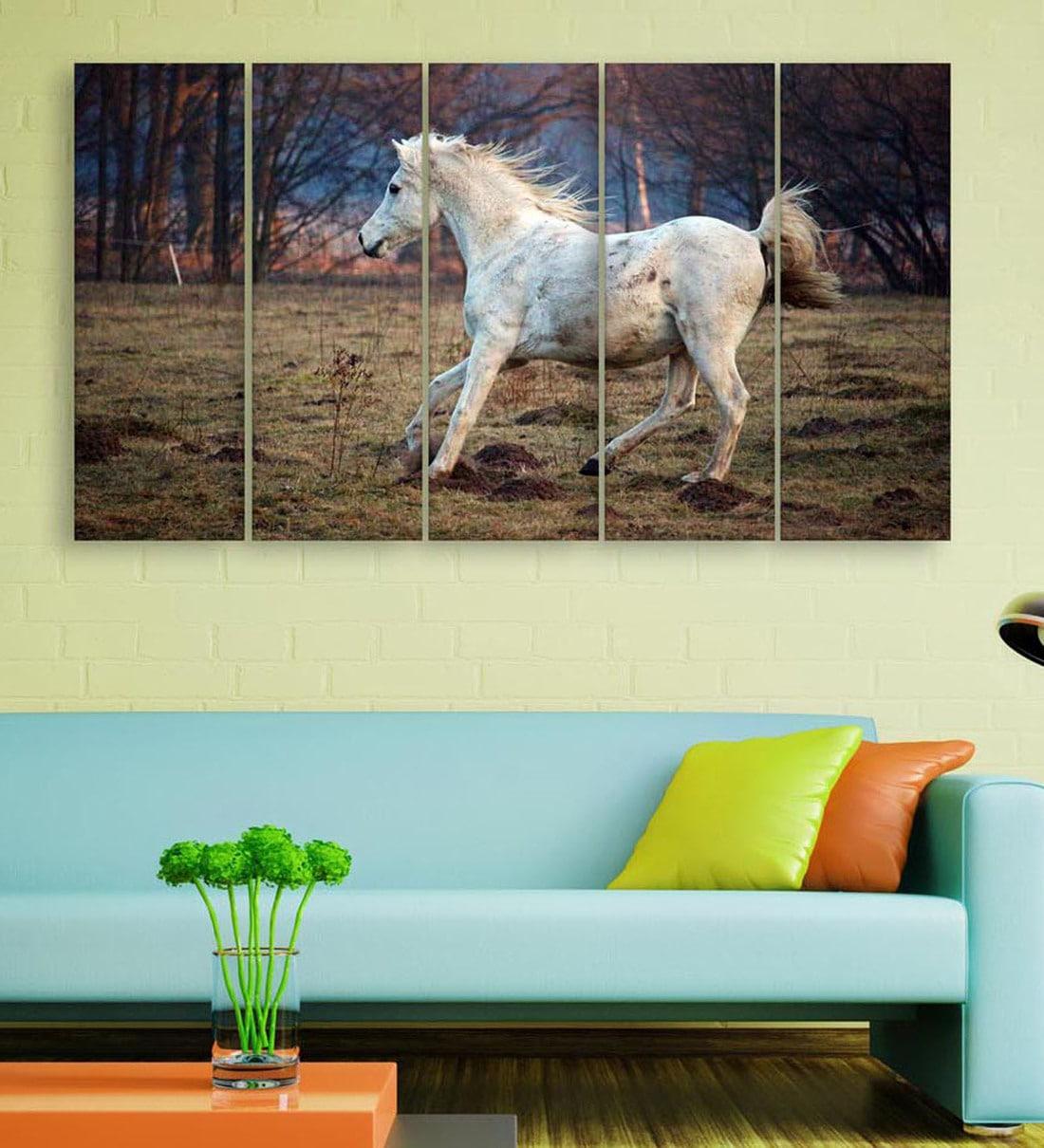 Buy Red Wood Multiple Frames Beautiful Running Horses Vastu Art Panels Set Of 5 By Inephos Online Wildlife Art Panels Art Panels Home Decor Pepperfry Product