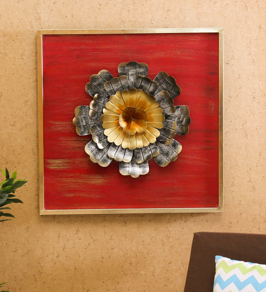 Buy Wrought Iron Marigold Flower In Red Wall Art By Vedas Online Floral Metal Art Metal Wall Art Home Decor Pepperfry Product