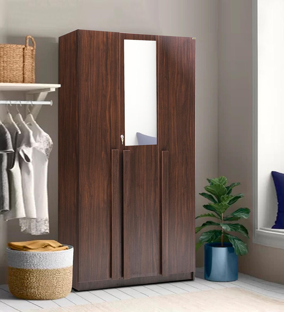Buy Regal 3 Door Wardrobe in Walnut Suede Finish by Trevi ...