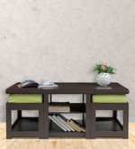 Rectangular Coffee Table with Green Cushioned Stools
