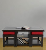 Rectangular Coffee Table with Two Red Cushioned Stools
