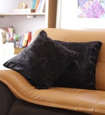 Black Cotton 16 x 16 Inch Embroidered Cushion Cover - Set of 2