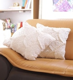 White Cotton 16 x 16 Inch Lace Cushion Cover - Set of 2