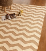 Beige and Ivory Cotton 91 x 63 Inch Area Rug