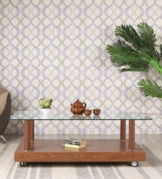 Rectangular Center Table With Wheels & Glass Top In Brown Finish