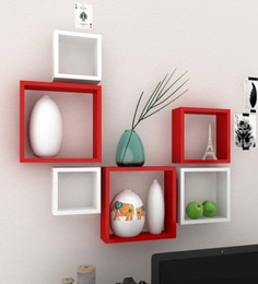 Red & White Engineered Wood Square Wall Shelves - Set Of 6 By Home Sparkle