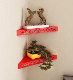 Red Engineered Wood Corner Wall Shelves - Set Of 2 By Home Sparkle