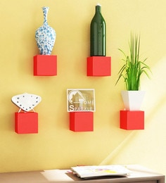 Red Engineered Wood Cubes Shelf - Set Of 5 By Home Sparkle