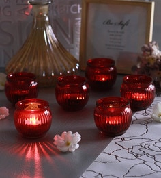 Red Glass Candle Cup Tea Light Holders  - Set Of 6