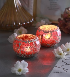 Red Glass Chip Doom Tea Light Holders  - Set Of 2