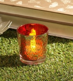 Red Glass Tea Light Holder - 1701124