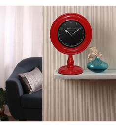 Red MDF 10 X 6 X 14 Inch Contemporary Desk Clock