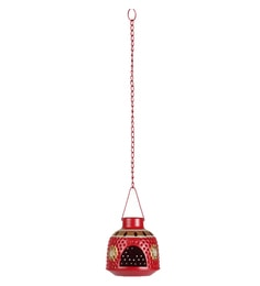 Red Metal Handpainted Hanging Cum Table Tea Light Holder
