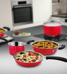 Red Stainless Steel Cookware Set - Set Of 3