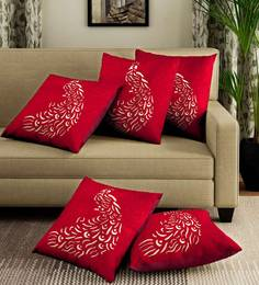 Red Velvet Laser Cut Cushion Covers Colour Set Of 5 Cushion Covers