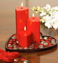 Red Wax Heart Shape Candle With Glass Beats And Heart Shape Plate - Set Of 3