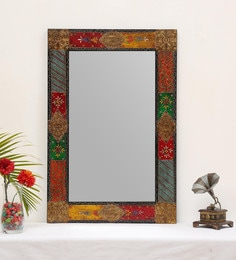 Reflections Of Rajasthan Rectangular Wall Mirror In Multicolour Finish