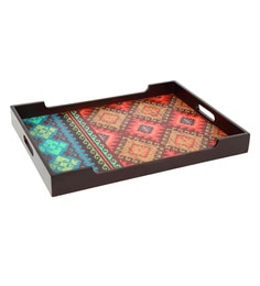 Reinvention Factory Multicolour Mdf Wooden Tray With Matt Finish - 1662812