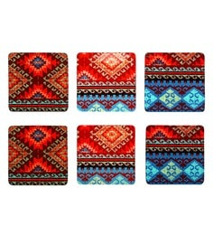 Reinvention Factory Multicolour Wooden Coasters With Kilim Design - Set Of 6