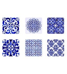 Reinvention Factory Multicolour Wooden Coasters With Tiles Design - Set Of 6