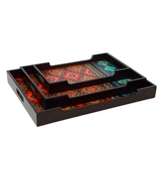 Reinvention Factory Multicolour Wooden Trays With Matt Finish - Set Of 3