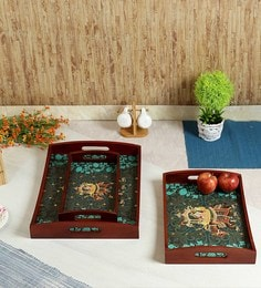 Reinvention Factory Raja Rani Wooden Set Of Tray