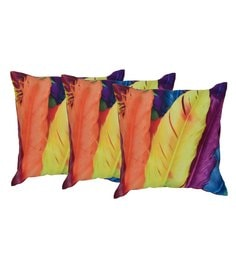 Reme Multicolour Cotton 18 X 18 Inch Feather Touch Cushion Covers - Set Of 3