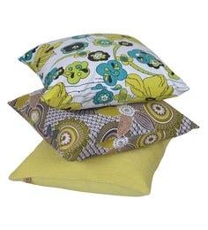 Reme Multicolour Cotton 18 X 18 Inch Summer Subtle Cushion Covers - Set Of 3