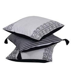 Reme White And Black Cotton 18 X 18 Inch Black Stroke Cushion Covers - Set Of 3