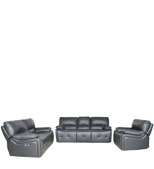 Recliner Sofa Set 3 2 1 In Black Colour By Parin