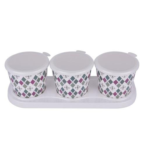 Buy Recon Melamine Crunchy Diamond Pink Green Round 600 ML Storage