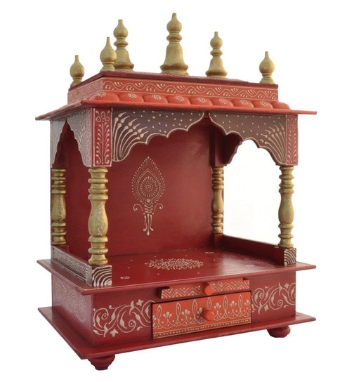 Buy Red Orange Mango Wood Mdf Temple By India Home Wood Online Temples Furniture Accents