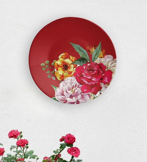 Groovy Red Ceramic Roses Decorative Wall Plate By Quirk India Ibusinesslaw Wood Chair Design Ideas Ibusinesslaworg
