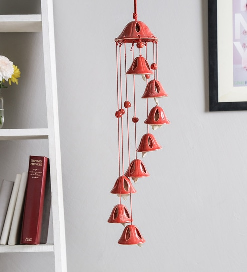 Red Ceramic Wind Chime By Unravel India