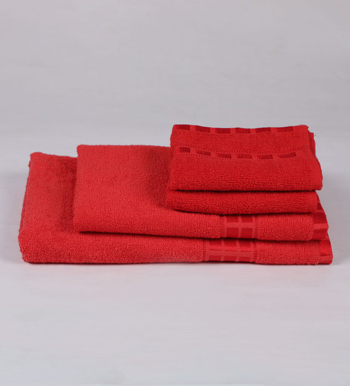 Red Cotton 380 GSM Bath Towel Set Of 4 By Eurospa