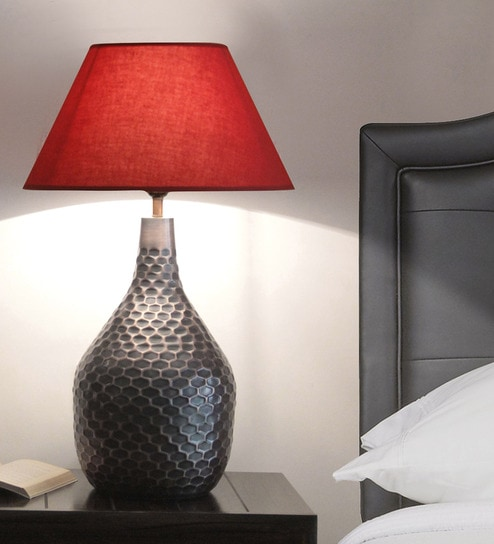 Red Fabric Hexapat Table Lamp By Kapoor E Illuminations