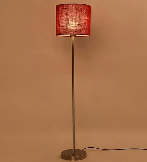 Red Iron U0026 Jute Drum Shade Floor Lamp By Lavish