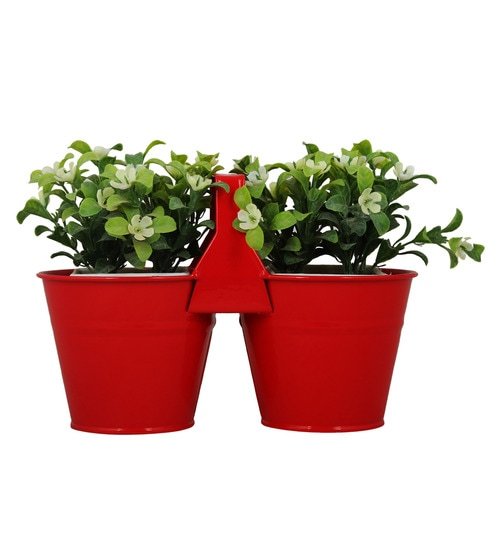 236 & Red Metal Table Top Planters by Wonderland - Set of 2