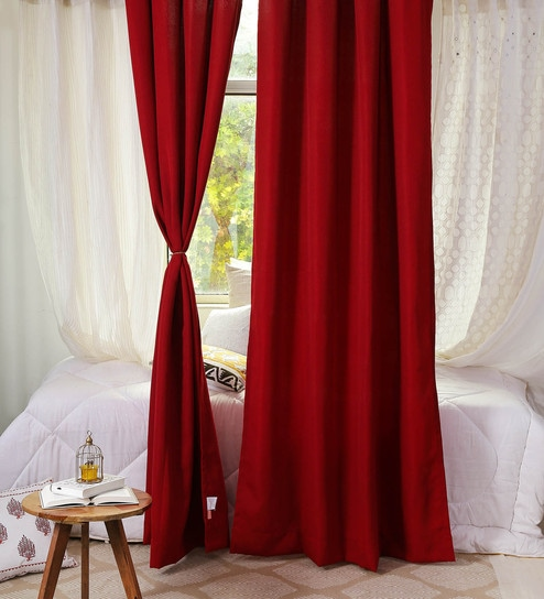 Buy Red Poly Cotton 48 X 90 Inch By Solaj Online Solid Colour Door