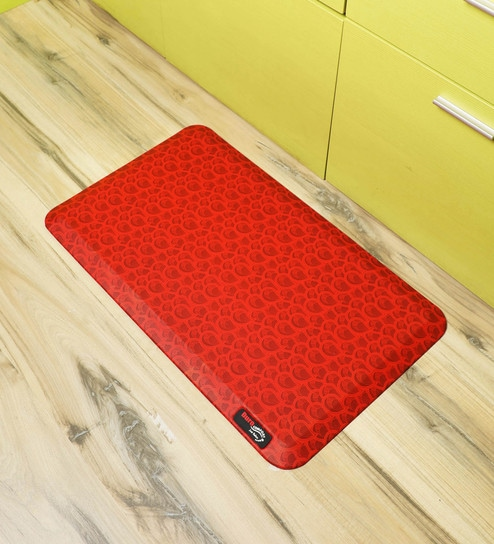 Red Rubber 18x30 Inch Anti Skid Bath Mat by Duro Comfort