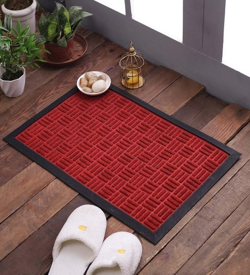 red rubberised coir 16 x 20 embossed rubber door door mat by swhf