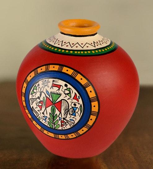 Buy Red Terracotta Handpainted Vase By Exclusivelane Online