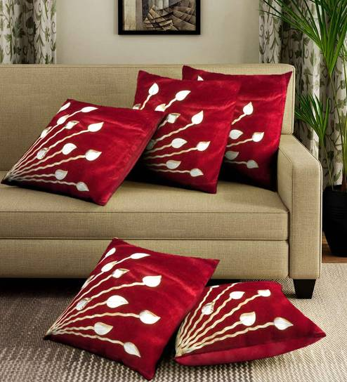 Red Velvet Laser Cut Cushion Covers Colour Set Of 5 By Romee