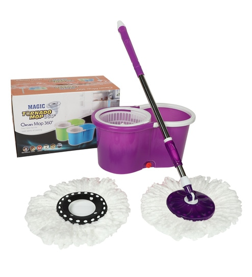 Reflection 360 Degree Rotating Purple 5500 ML Magic Spin Mop with 2 Microfibre Mop Heads & 4 Wheels