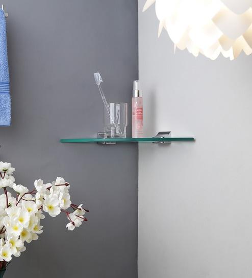 Regis Bathroom Wall Corner Glass Shelf / Rack - Skyglas Series 250mm