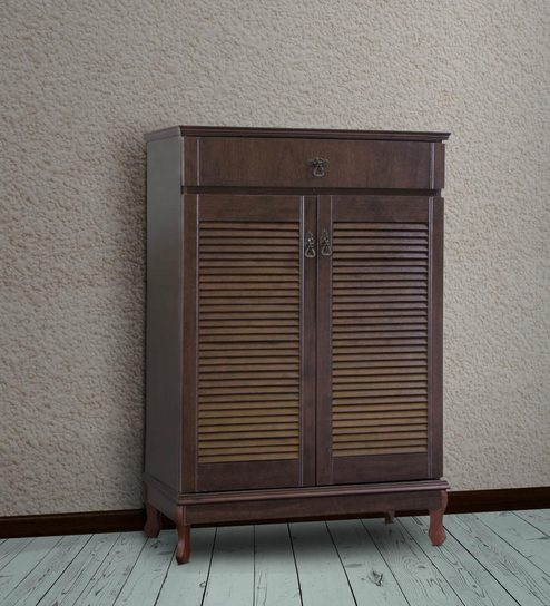 Buy Relman Two Door Shoe Cabinet with Drawer in Light Cappuccino ...